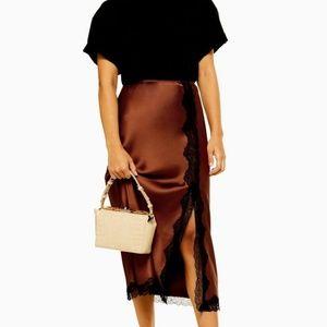 Topshop Bias Cut Satin Lace Side Slit Midi Skirt